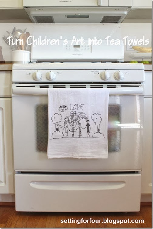 Turn Kid's Art Into Tea Towels! Great gift idea for grandparents, teachers and family members!