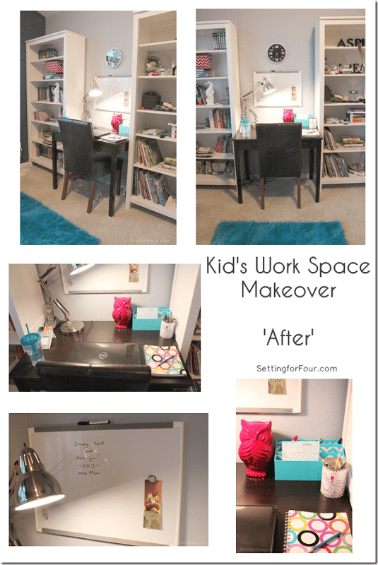 Kid's Work Space Makeover 'After' www.settingforfour.com