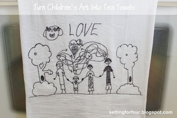 Turn Kid's art into tea towels! Fun DIY to do with the kids artwork and great gift idea! www.settingforfour.com