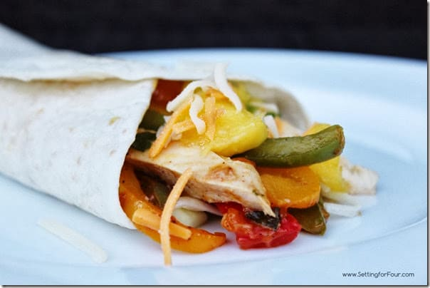 Lime Chicken Fajita Recipe with Mango Cucumber Salsa from Setting for Four