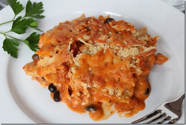 Mexican Lasagna with Tortilla Chip Topping Recipe