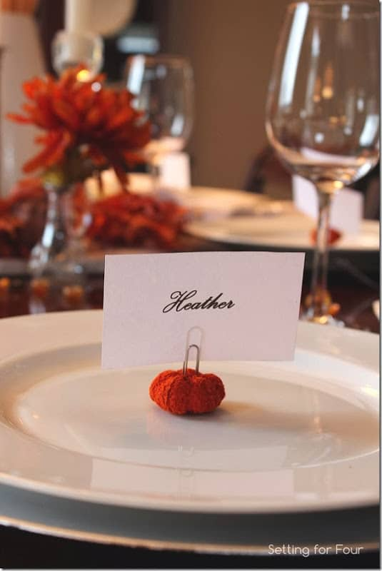Mini pumpkin place cards
