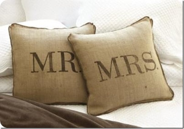 Mr and Mrs DIY Burlap Pillow