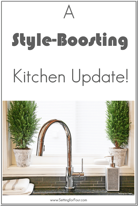 See this Style-Boosting Kitchen Update! Pull down, touch free faucet that's so easy to clean! #kitchen #sp