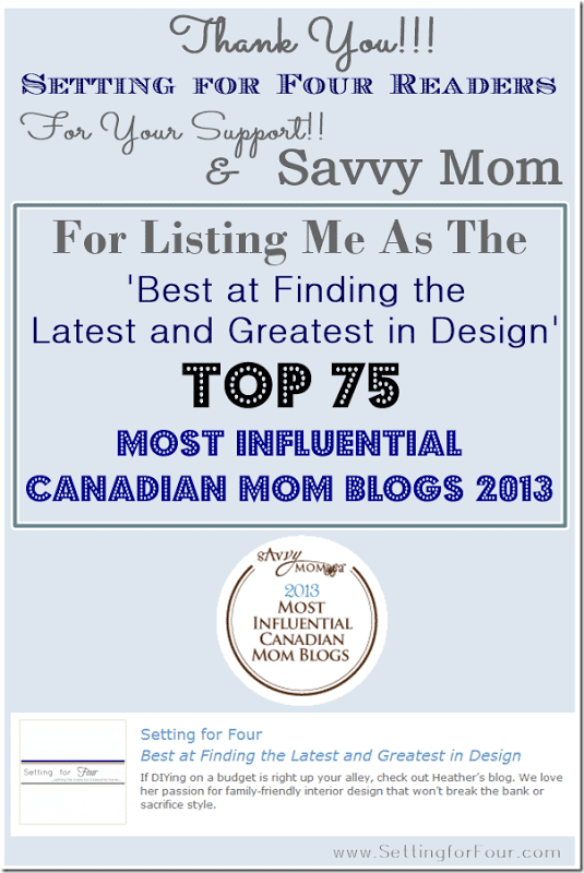 Setting for Four, Top 75 Most Influential Canadian Mom Blogs