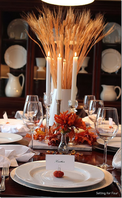 A Bountiful Harvest Thanksgiving Tablescape Setting For Four