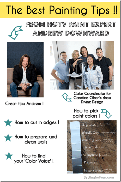 The Best Painting Tips from HGTV Paint Expert Andrew Downward , the color coordinator for Candace Olson's HGTV show 'Divine Design'! Great DIY tips for your home improvemet paint projects fom Setting for Four!