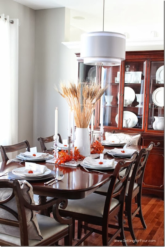 Wheat Sheaf Centerpiece and whiteware in Dining Room Setting for Four