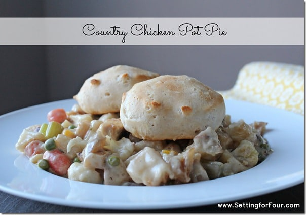 Hearty and delicious! One Pan Chicken pot pie recipe the whole family will LOVE! www.settingforfour.com