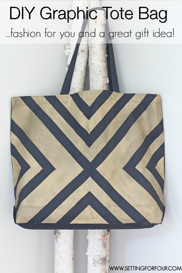 Easy DIY Black and Metallic Gold Tote Bag with Stylish Painter's Tape Pattern! - great gift idea! | www.settingforfour.com