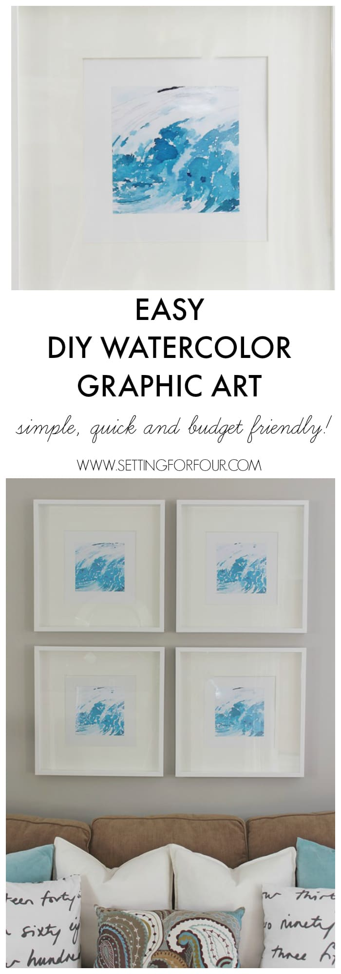 Easy, FREE DIY Watercolor Graphic Art - just print, frame and hang! Such a simple, quick and budget friendly way to decorate your walls and create an instant gallery wall! www.settingforfour.com