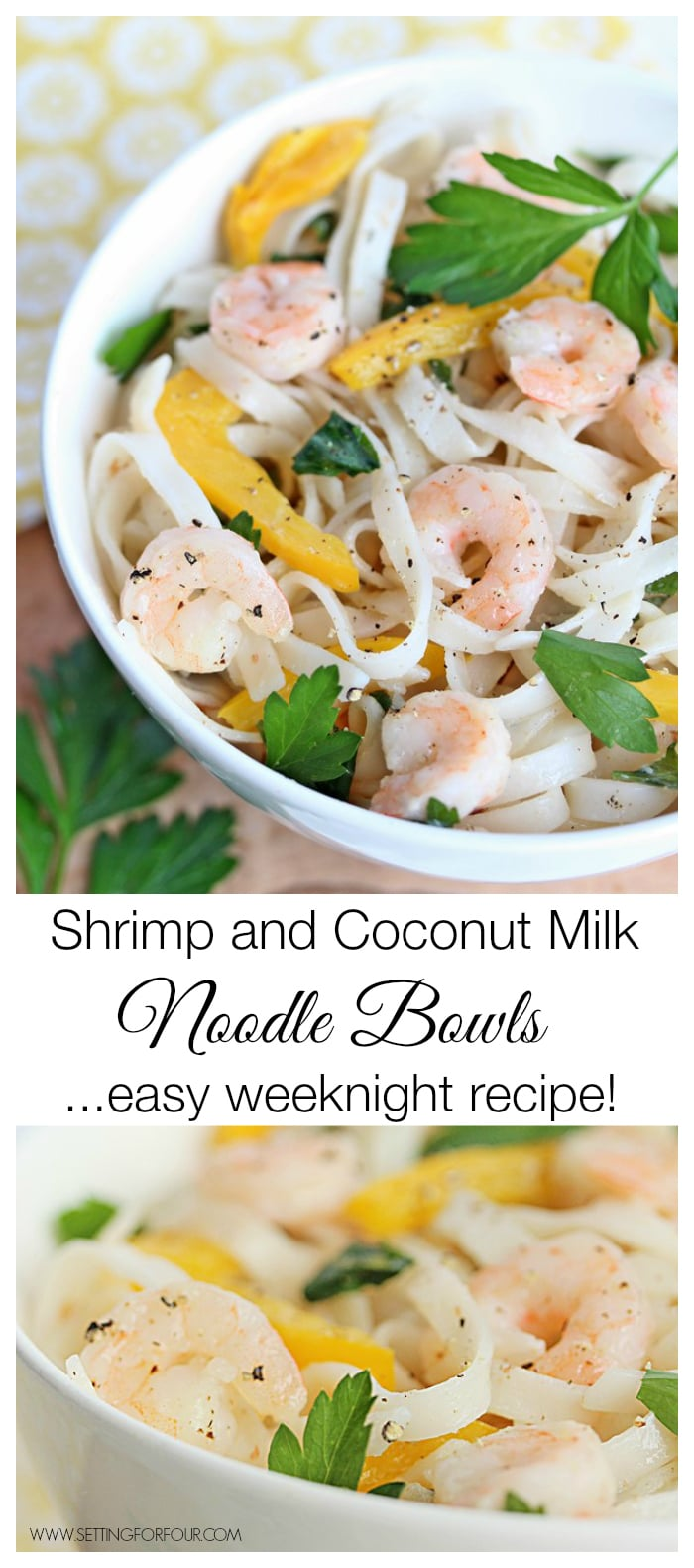 Easy Weeknight Meal Recipe for Delicious Shrimp and Coconut Milk Noodle Bowls! Made in one pan for quick cleanup too! | www.settingforfour.com