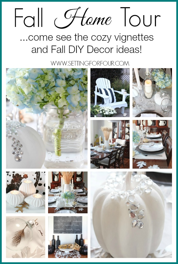 Come see my Fall Home Tour! Cozy vignettes and lots of DIY Decorating Tips!   www.settingforfour.com