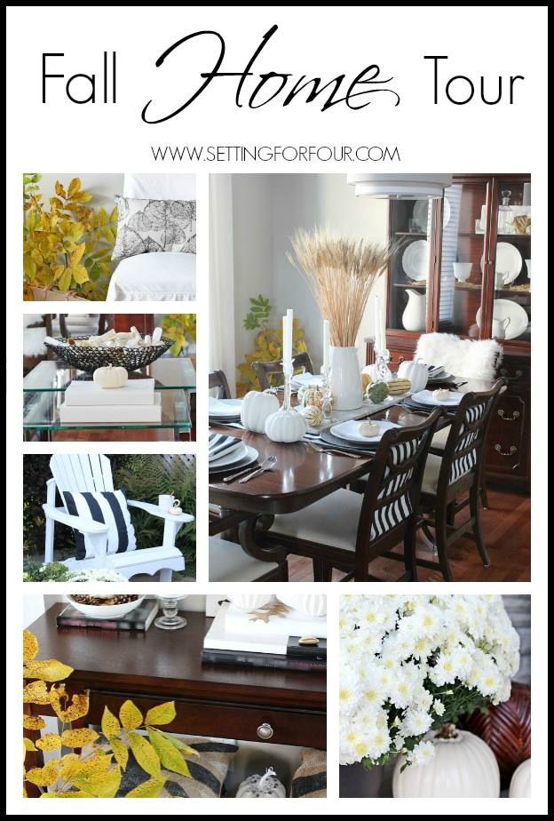 Welcome to my Fall Home Tour - see lots of easy fall home decorating tips! www.settingforfour.com