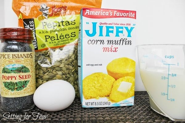 Ingredient list for Easy Poppyseed Corn Muffins - Great for Breakfast, wih lunch or dinner!