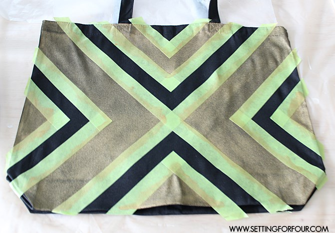 EASY DIY Fashion Project: How to create a graphic pattern on a tote bag using painters tape and paint! Back to School tote and fun fashion idea for you!