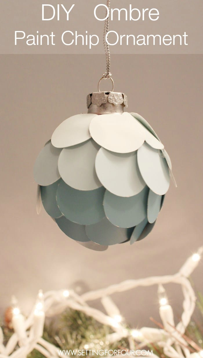 Make this Easy Stylish DIY Ombre Paint Chip Ornament! What a great way to use leftover paint chips you've collected! Choose paint chip colors that coordinate with the colors in your home and with your seasonal decor. Great gift idea and present topper too! | www.settingforfour.com