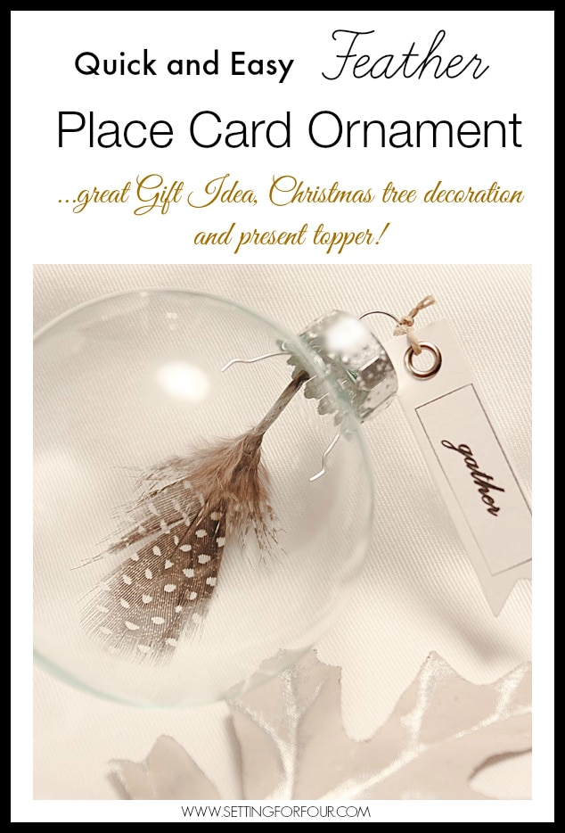 Make these easy DIY Feather Ornaments with quote tags for your fall and holiday table settings or Christmas tree decor! Makes a beautiful present topper and gift idea too: teacher and holiday gift idea.