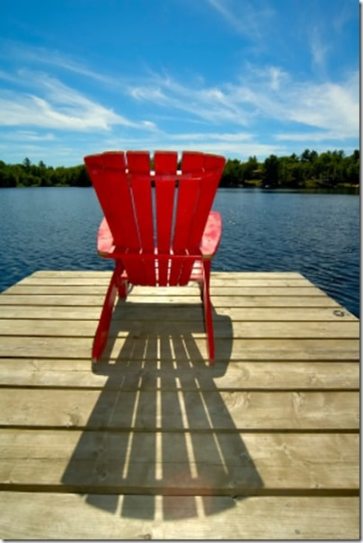 red-muskoka-chair-on-dock