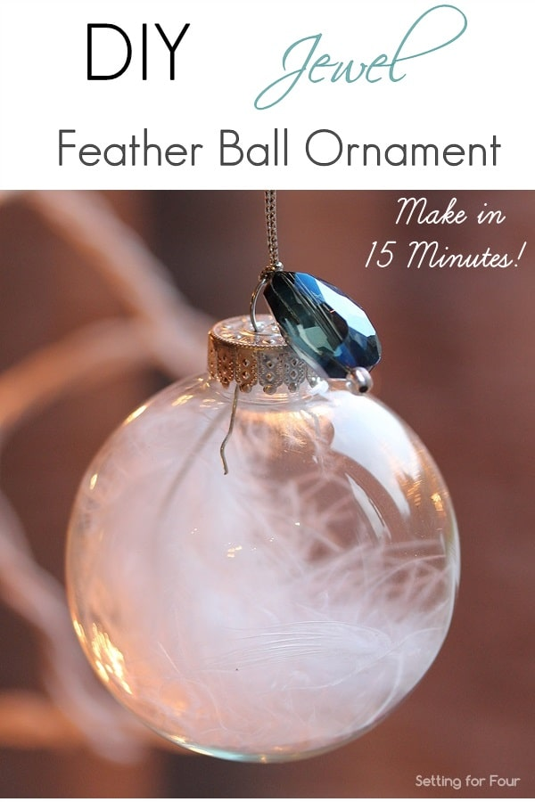 Make this beautiful DIY Feather Ornament with jewel accent for your Christmas tree! Make several of these elegant Christmas balls and add to a vase or bowl for DIY holiday home decor.