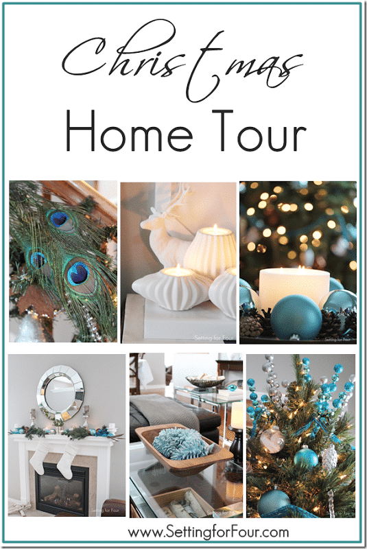 Welcome to my Christmas Home tour! Lots of festive DIY holiday decor ideas. Aqua blue and teal Christmas decorating ideas for every space in your house!