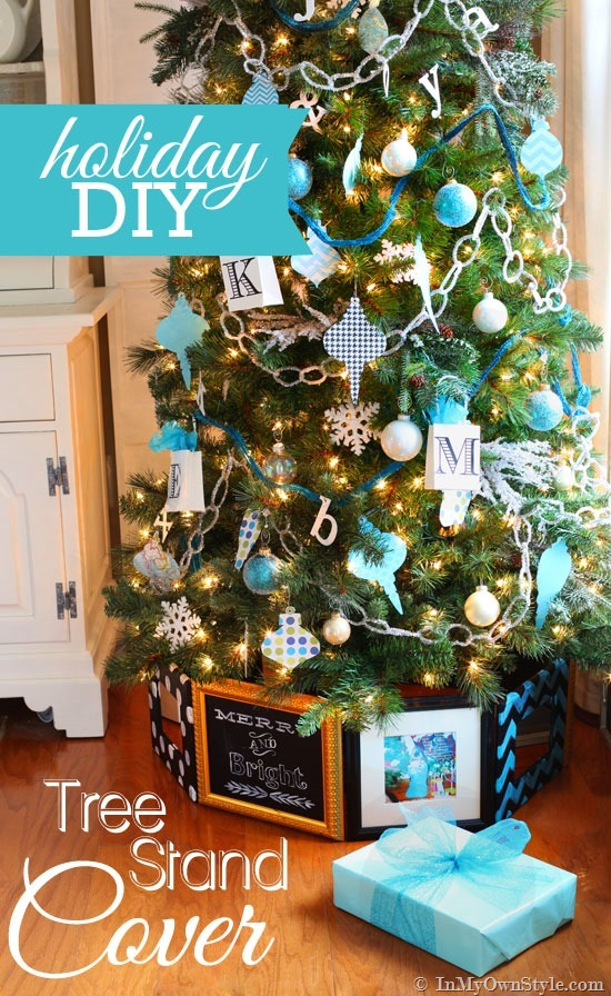 DIY Picture Frame style Christmas tree stand idea.