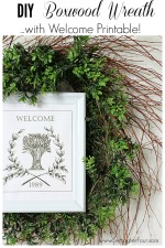 DIY Boxwood Wreath with Framed 'Welcome' Printable