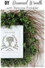 DIY Boxwood Wreath with Free Printable www.settingforfour.com