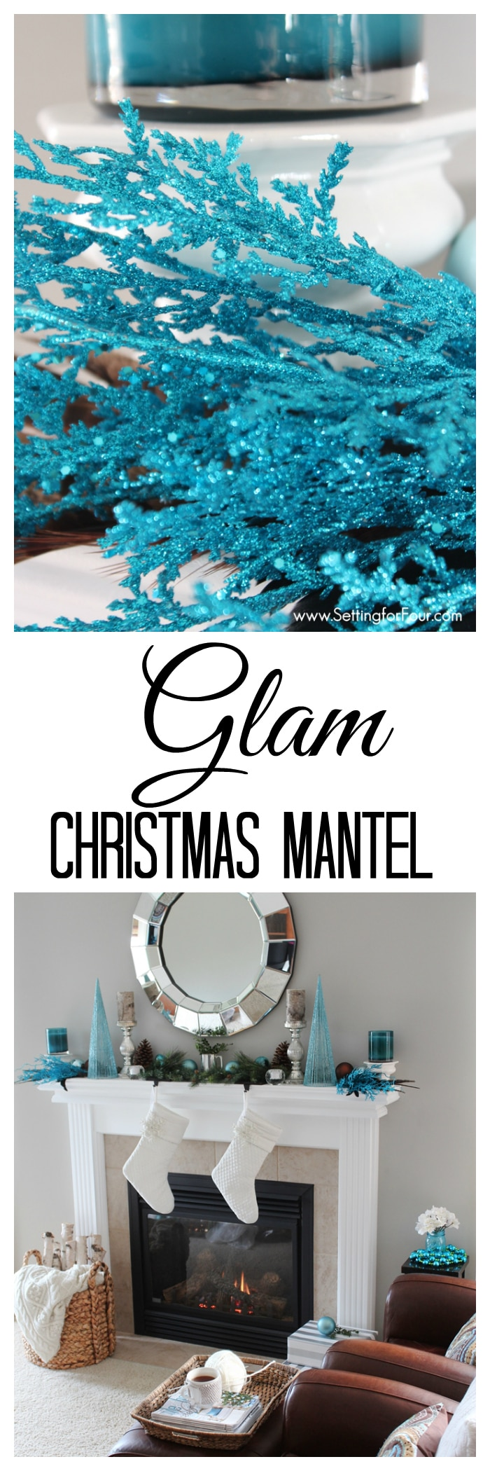 Glam Christmas Mantel Decor Ideas - see how I decorated my mantel with glitter, shimmer and shine! | www.settingforfour.com