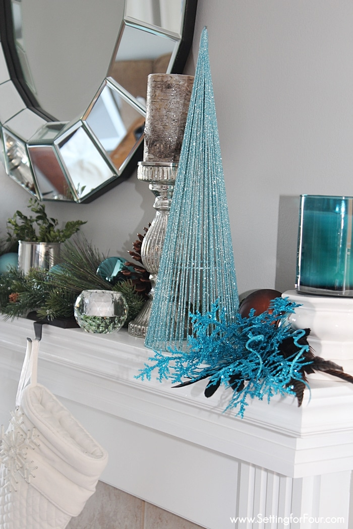 DIY Christmas Mantel Decor in Blue and Copper | www.settingforfour.com