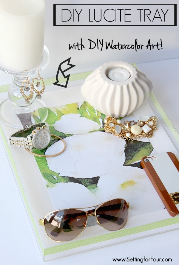 Make this stylish DIY Lucite Tray with Watercolor Art using an iPhone app - so easy! www.settingforfour.com