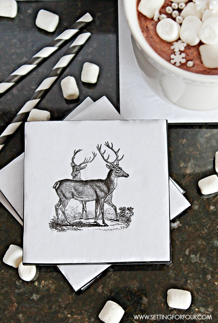 Great tutorial to make this Upcycled Woodland DIY Coaster for your home! Beautiful decor accessories and gift idea! www.settingforfourcom
