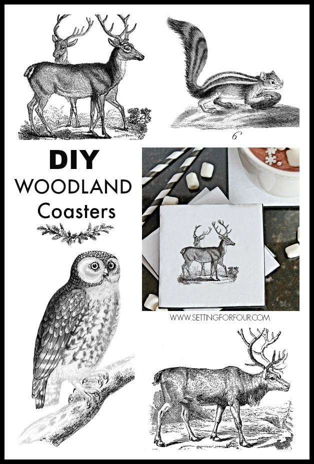 Great tutorial for Upcycled Woodland DIY Coasters for your home! Beautiful decor accessories and gift idea! www.settingforfourcom