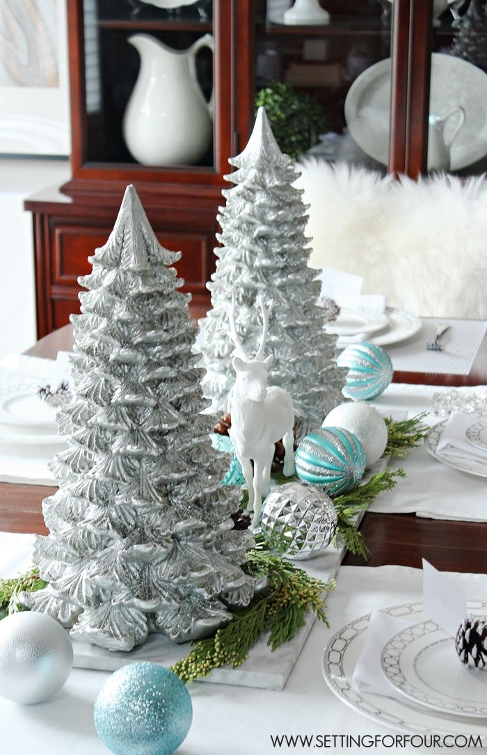 Diy Christmas Decor For School : Winter woodland glam christmas centerpiece setting for four