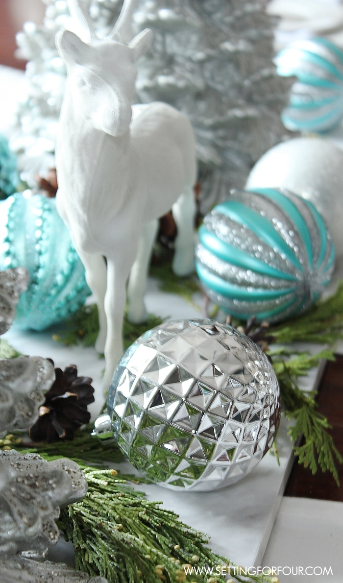How to make a Shimmery Winter Woodland Glam Christmas Centerpiece for the holidays! DIY decor tips included. www.settingforfour.com