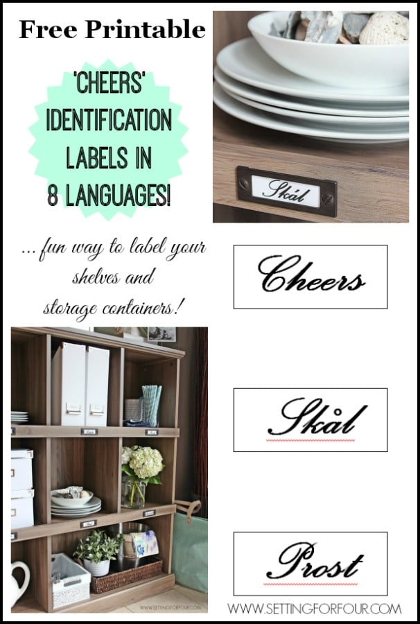 FREE! Identification Labels that spell 'Cheers' in 8 languages! Great for labelling boxes, bookcase, shelves. | www.settingforfour.com
