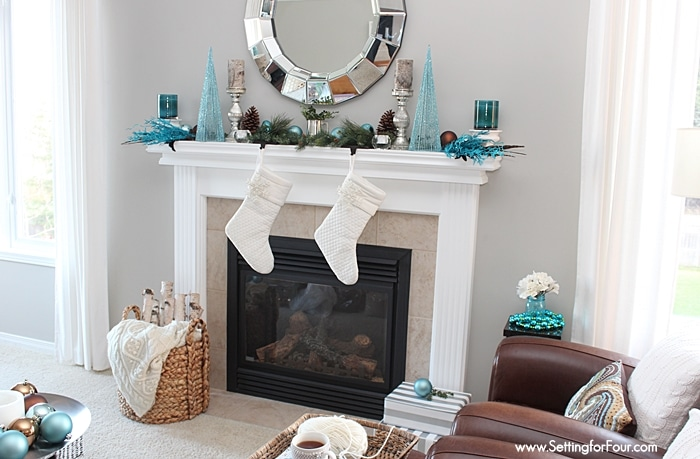 DIY Glam Christmas Mantel Decor Ideas - see how I decorated my mantel with glitter, shimmer and shine! | www.settingforfour.com