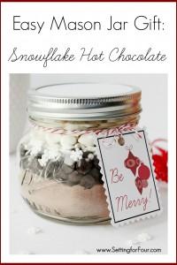 DIY Mason Jar Gift Idea with Snowflake Hot Chocolate | www.settingforfour.com