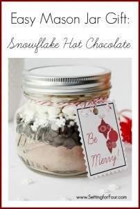 DIY Mason Jar Gift Idea with Snowflake Hot Chocolate | www.settingforfour.com