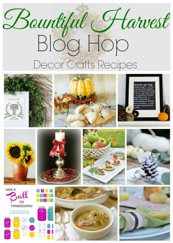 See the Bountiful Harvest Blog Hop with lots of free Thanksgiving recipes, DIY's, crafts and decor ideas shared by talented bloggers!