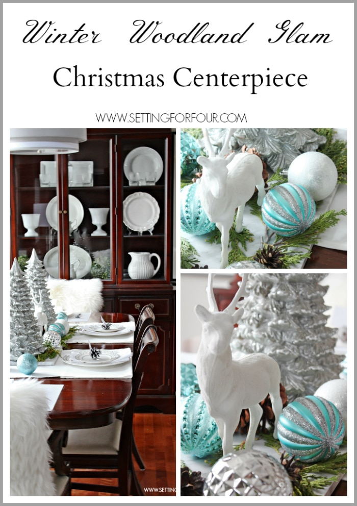 How to make a Winter Woodland Glam Christmas Centerpiece for the holidays! DIY decor tips and resource list included. www.settingforfour.com