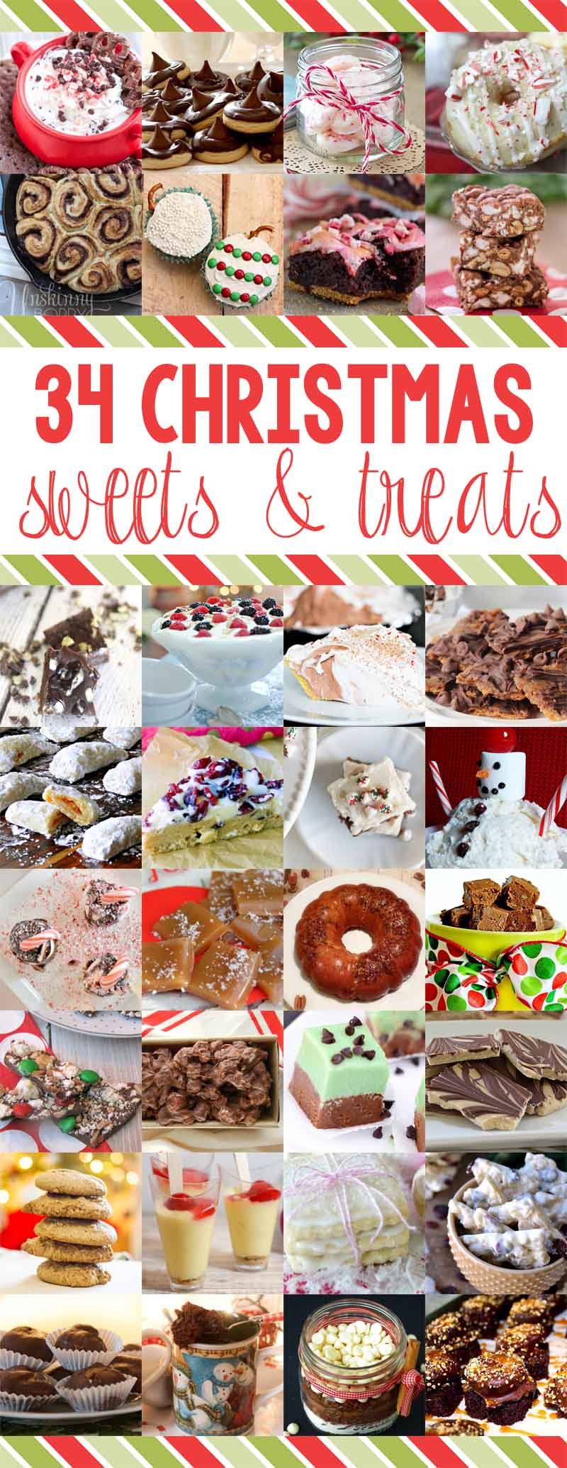 Must make! 34 Christmas Baking Ideas: 34 Delicious Sweets and Treats Recipes to satisfy your family's sweet tooth! Great food gift ideas too! You can bake up a storm with these YUMMY holiday desserts, squares, candy and cookie recipes!