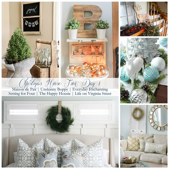 See lots of gorgeous Holiday decorating ideas with these 6 beautiful Christmas home tours! www.settingforfour.com