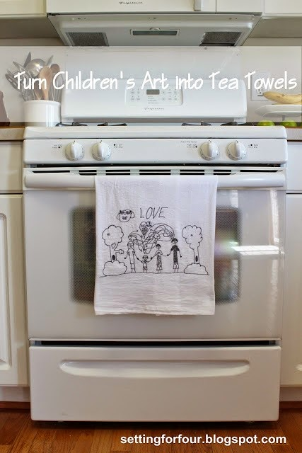 Easy DIY tutorial: How to turn kids art into tea towels! Great gift ideas and home decor for your kitchen! Super cute and cheery!