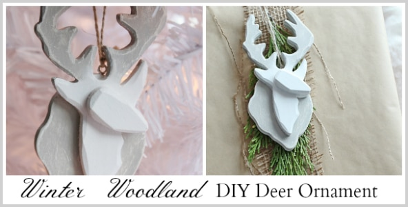 Make this stylish painted and distressed Winter Woodland Deer Ornament!