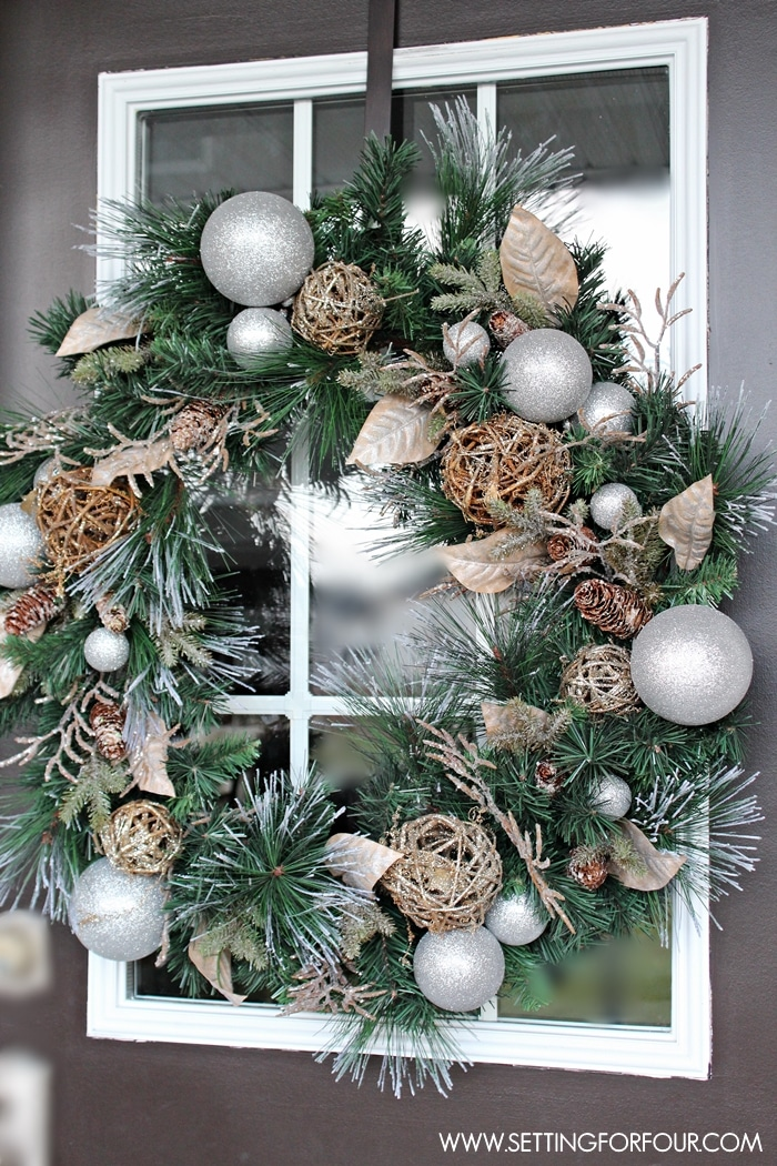 Christmas Entryway Decorating Ideas Part - 28: See My Christmas Entryway Decor With Winter Woodland Glam Style! Front Door  Wreath And Garland