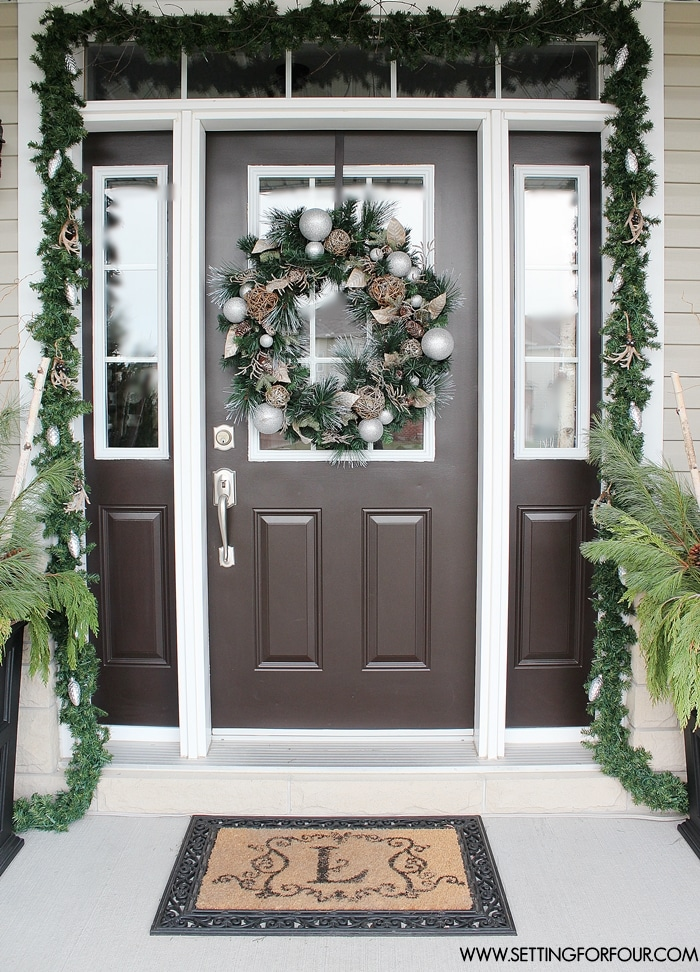 see my christmas entryway decor with winter woodland glam style front door wreath and garland