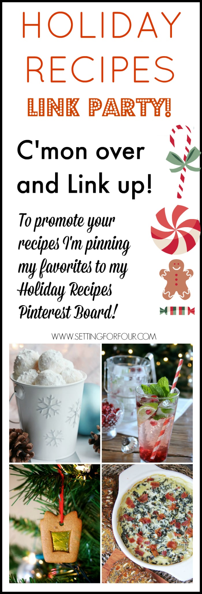 Share and link up to this fun Holiday Recipes Link Party! See and make lots of delicious Christmas recipes too! www.settingforfour.com