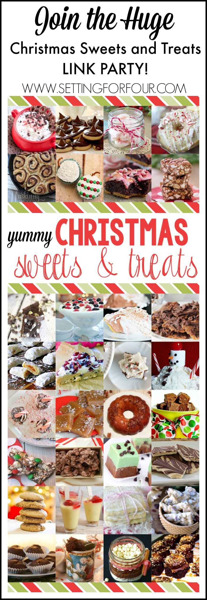 Join in the HUGE Christmas Sweets and Treats recipe link party! Candy, Desserts and sweets! www.settingforfour.com