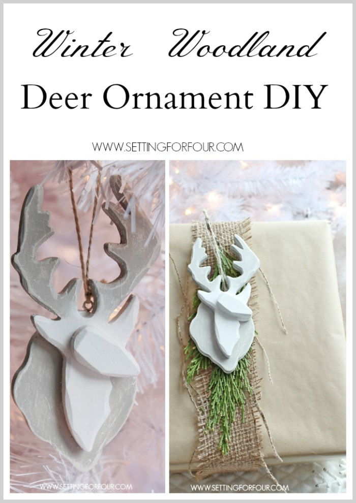 Holiday home decor: See how to make this beautiful, quick and easy DIY Deer Ornament in just 3 steps! The simple instruction tutorial and supply list is included so you can make it yourself! This ornament is a beautiful Christmas tree ornament, stocking stuffer, teacher gift and gift wrap accent.